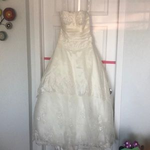 Wedding dress with bustle.